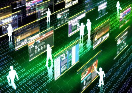 transaction: Virtueel leven geïllustreerd met mensen doet activiteit in futuristische virtuele wereld. Stockfoto
