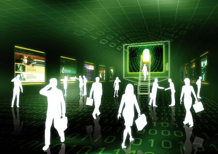 futuristic woman: Concept of internet business illustrated with people doing business in futuristic virtual world.