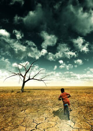 A global warming illustration with a boy drive a bike in desert. illustration