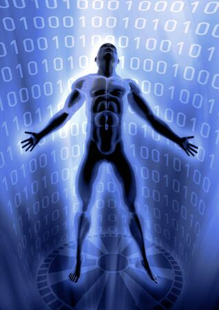 Picture of a man arise in virtual world of digital information. Stock Photo