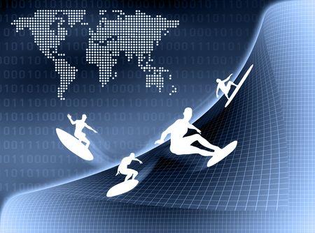 Internet Surfer surfing in virtual world. photo