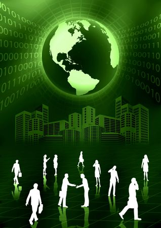 People doing business activity in virtual world Stock Photo - 3881636