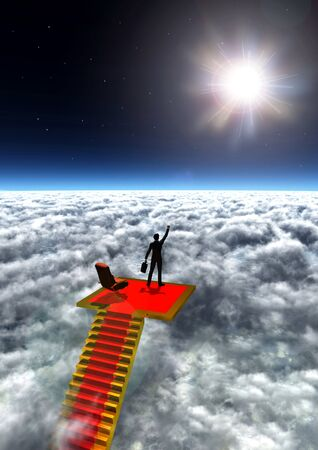 Illustration of a businessman standing in victory on top of the world.