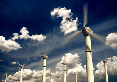Wind Power turbines with sky background photo