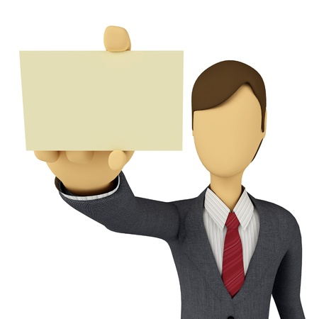 3d Businessman showing a blank business card template photo