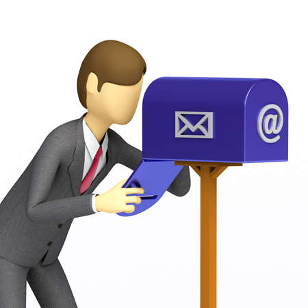 postbox: 3d Businessman checking his email box Stock Photo