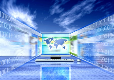 binary globe: Fast internet access concept Stock Photo