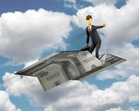 3d Businessman with concept of financial freedom photo
