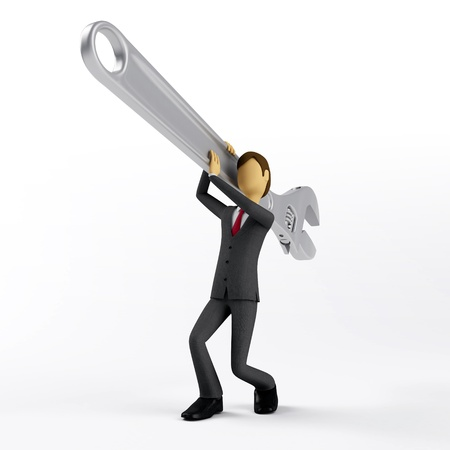 3d Businessman try to fix his problem with giant wrench photo