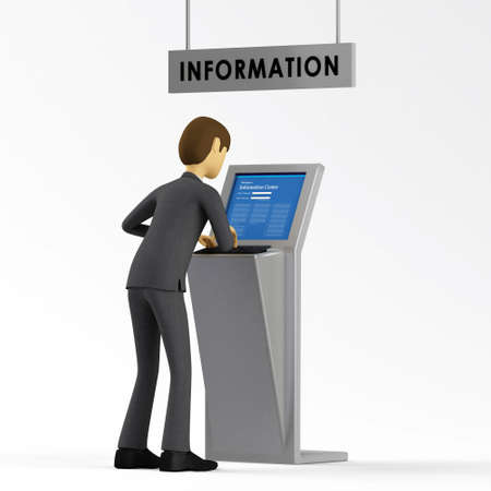 accessing: 3d Businessman accessing Information database Stock Photo