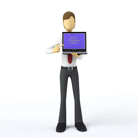 3d Businessman with blank laptop templates photo