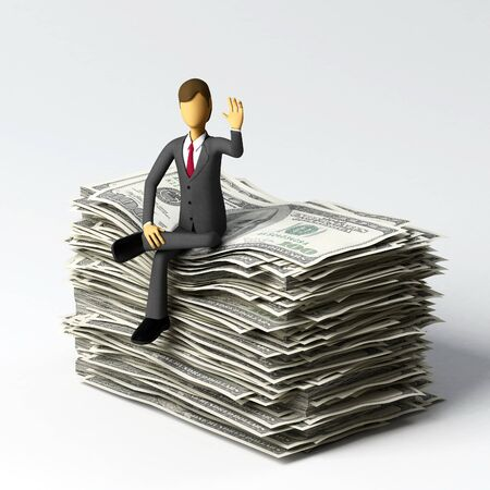 sucess: 3d Businessman with lots of money