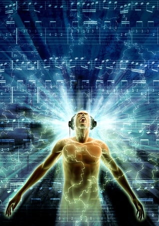 Concept of a Man got carried away with the music he is listening Stock Photo - 9706702