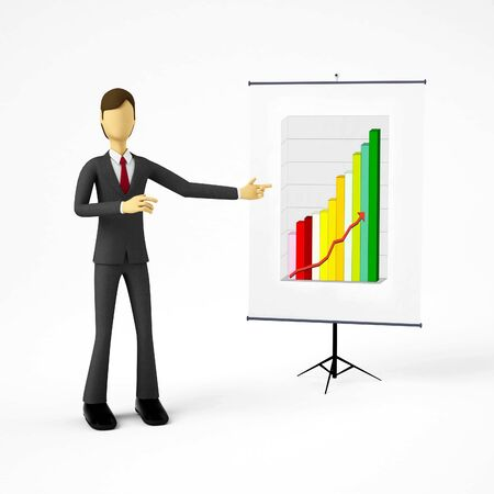3d Businessman doing business presentation Stock Photo - 9706543