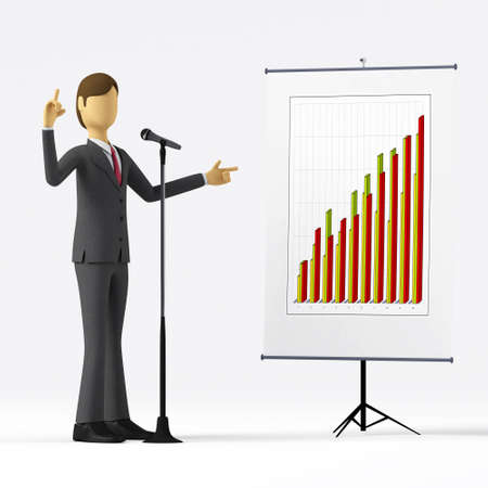 doing business: 3d Businessman doing business presentation