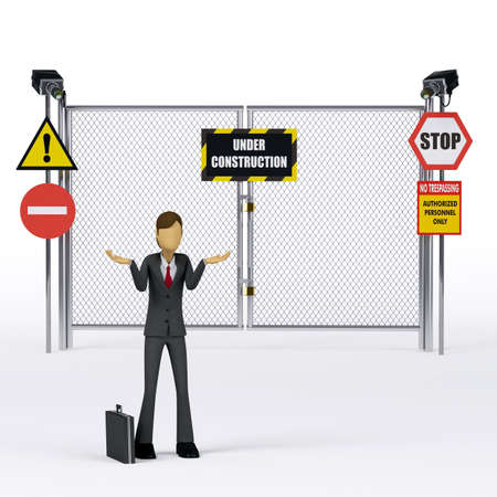 trespass: 3d Businessman saying the site is still under construction Stock Photo