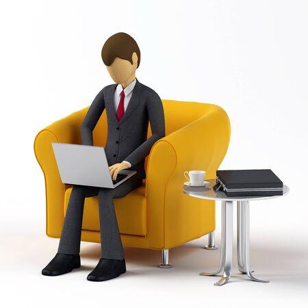 3d Businessman using laptop photo