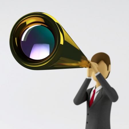 vision futuro: empresario 3D ver oportunidades futuras