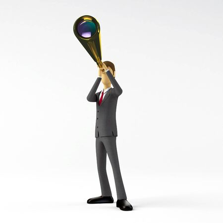 3d Businessman with Telescope photo