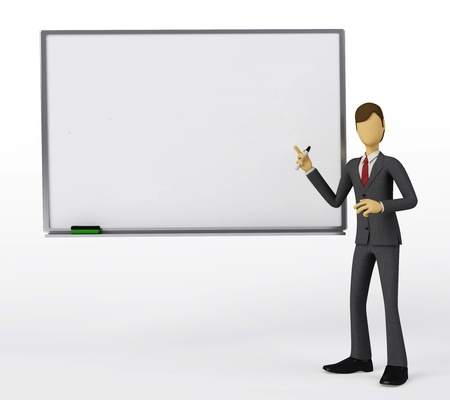 3d Businessman with blank white board
