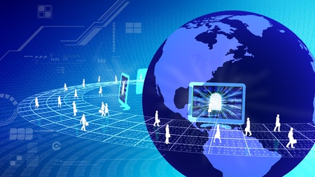 web portal: the concept of virtual internet business world with people from all over the world doing virtual business activity