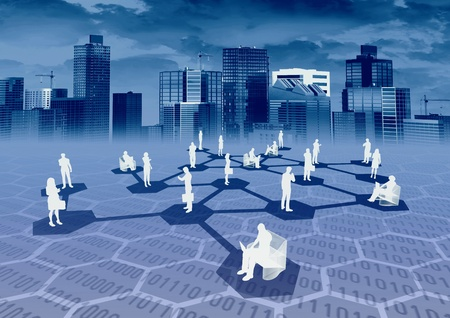 trabajo social: Red social y empresarial concepto
