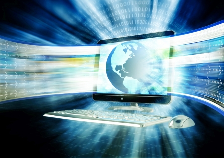 internet  broadband: Concept of fast internet browsing with an lcd screen flahing a series of website rapidly.