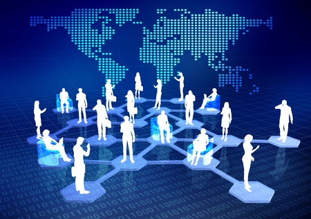 virtual community: Concept of how people connected via internet as a social or business networking activities. Stock Photo