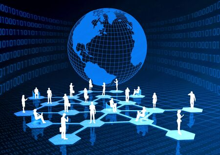 virtual community: Concept of how people from around the world connected in a social or business network inside the internet.