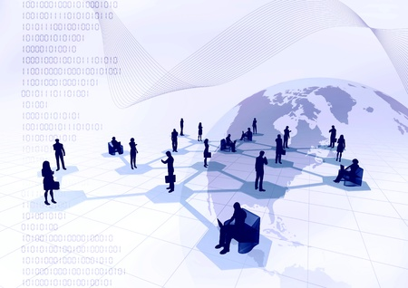 Concept of how people from around the world connected in a social or business network inside the internet. Stock Photo - 9706759