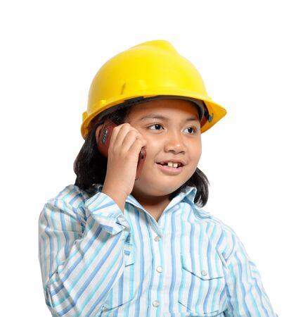 niños actuando: hermosa joven asiático en calidad de ingeniero de futuro y mujer de negocios