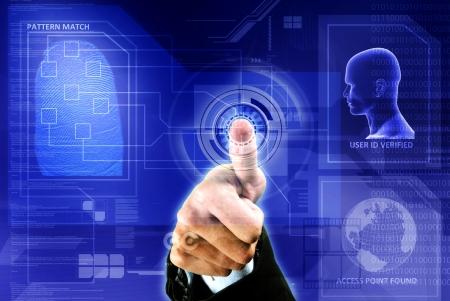toegangscontrole: conceptueel beeld van de digitale vingerafdruk identificatie veiligheid Stockfoto