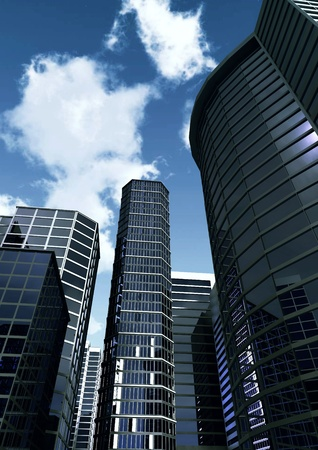 3d illustration of commercial and offices building downtown