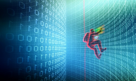 Hacker in action Standard-Bild