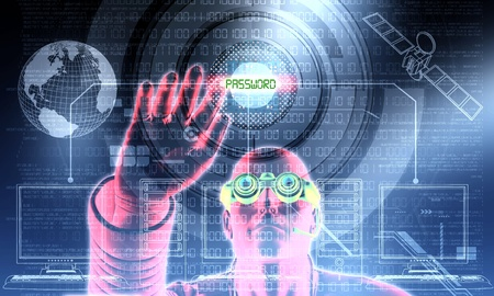 criminal activity: Hacker in action Stock Photo