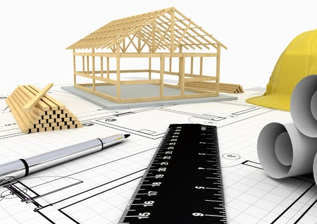 Wooden House Frame Stock Photo