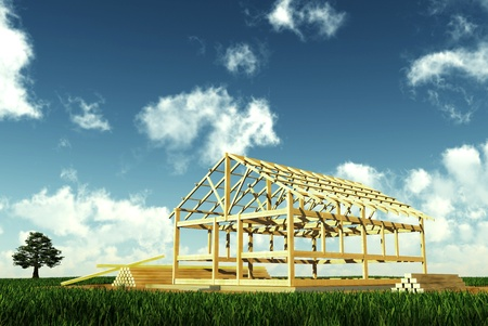 Conceptual image of building a wooden house