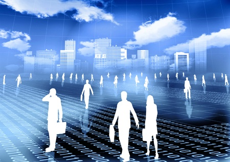 virtual world: Conceptual image of people doing activity and budiness in virtual world of internet