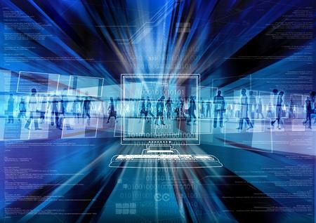 인터넷의 가상 세계 안에서 디지털 사람들 스톡 콘텐츠