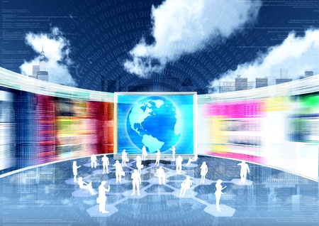 virtual world: ebusiness concept with people doing business in internet virtual world Stock Photo
