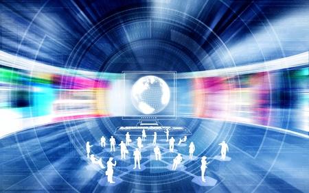 Social et ou d'un concept de réseautage d'affaires avec des personnes reliées les unes aux autres avec internet