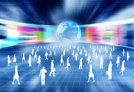Virtual business concept with people doing business activity in virtual internet world