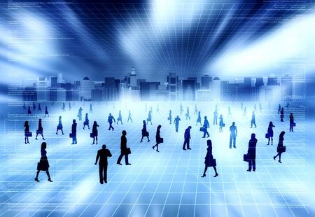 mucha gente: El concepto de mundo virtual con mucha gente haciendo la actividad empresarial en la ciudad virtual en la Internet Foto de archivo