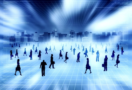 Concept of virtual world with many people doing business activity in virtual city inside the internet