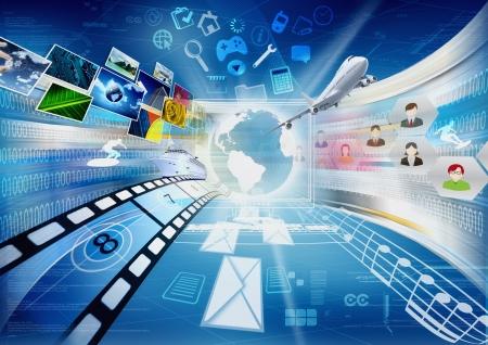인터넷과 컴퓨터가 전세계 정보 및 멀티미디어 공유 우리를 연결하는 방법에 대 한 개념적 이미지 스톡 콘텐츠