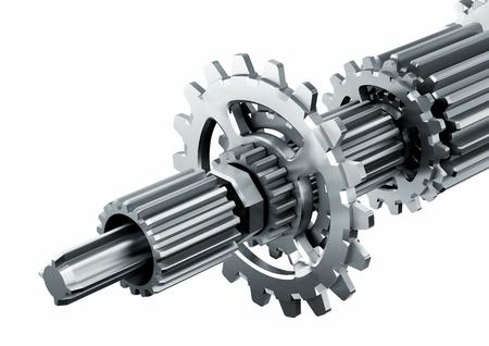 3d teruggegeven illustratie van een stuk van de mechanische roterende metalen motor geïsoleerd in het wit