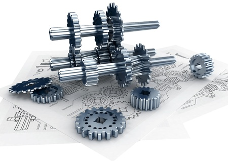 machine part: Mechanical and technical engineering concept of designing and buildinga a machine Stock Photo