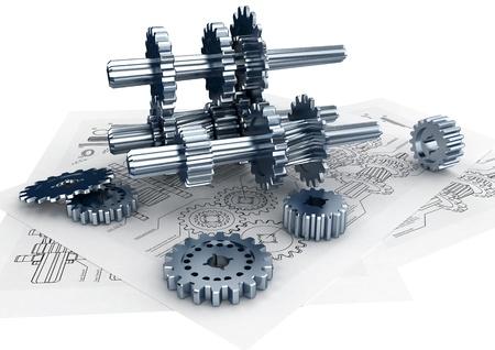 Mechanische en technische engineering concept van het ontwerpen en buildinga een machine