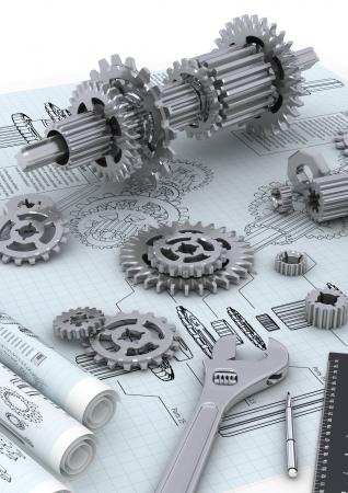 mecanica industrial: Ingeniería mecánica y técnica concepto de diseño y construcción de una máquina Foto de archivo