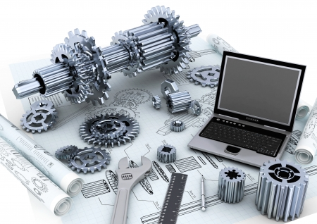 Conceptual image of mechanical engineering of a machine photo